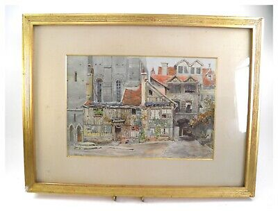Antique 19th century watercolour painting Rouen Houses under the cathedral tower