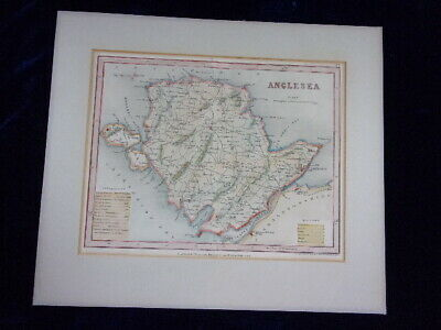 "An Antique Engraved Map, ""Anglesea"", Anglesey, Wales."