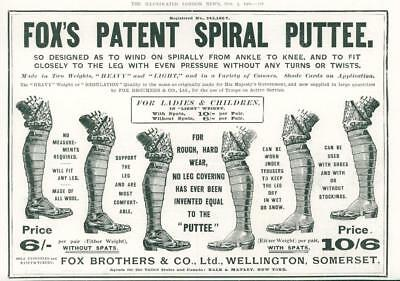 1901 Antique Print  Advertisements - Fox's Patent Spiral Puttees Heavy Leg (105)