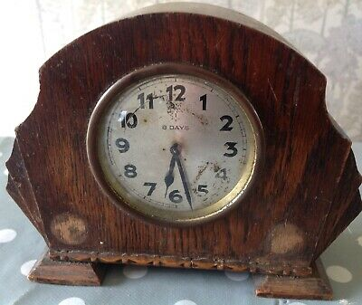 Vintage 8 Day English Mantle Clock Stepped Oak Case 18x15 For Repair Restoration