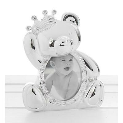 Silver Polished Teddy With Crown Christening New Baby Photo Frame