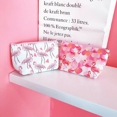 Women Flamingo Make Up Bag Pink Panther Cosmetic Pouch Purses Case For Travel