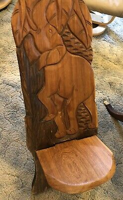 Vintage Hand Carved African Wooden Birthing Chair Elephants Trees