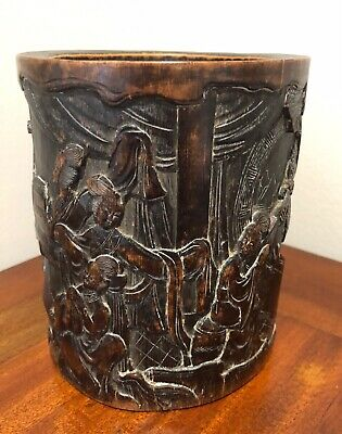 Antique Qing 19th Century Chinese Carved Bamboo Brush Pot