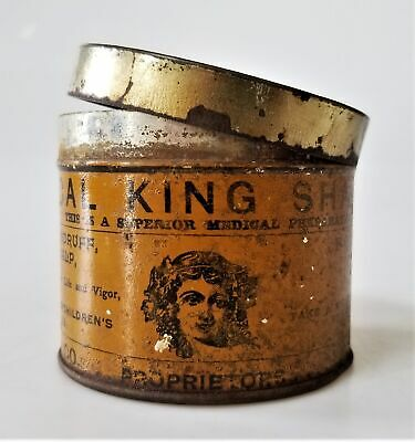 early antique MEDICAL KING SHAMPOO anti-itch TIN for bathing dandruff NOONAN