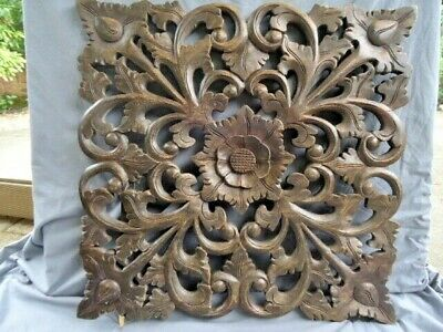 Large  19Th / 20Th Century Wooden Carved And Pierced  Panel