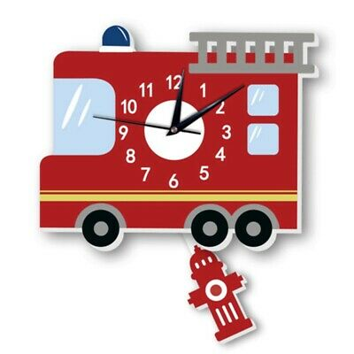 Fire Truck Wall Clock With Pendulum Silent Movement Funny Hanging Watch For Kids
