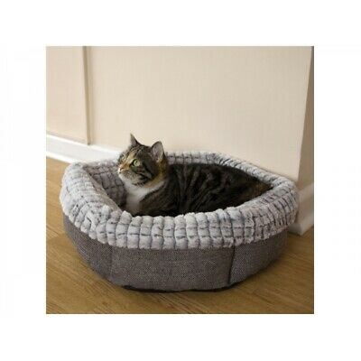 """Cat Bed - Small Dog 40 Winks Tweed And Luxury Plush  19"""" Machine Washable -NQP"""