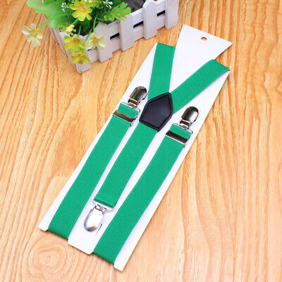 Kids cool stretch Suspenders Y-Braces Adjustable Clip On Wedding party Trouser