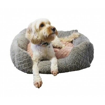 Rosewood 40 Winks Grey and Pink Square Luxury Pet Dog Cat Bed - NQP