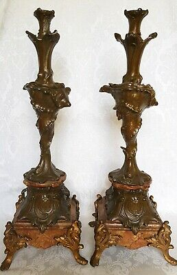 PAIR OF ANTIQUE FRENCH BRONZE And MARBLE CANDLEHOLDERS SEASHELL SEASHELL DESIGN