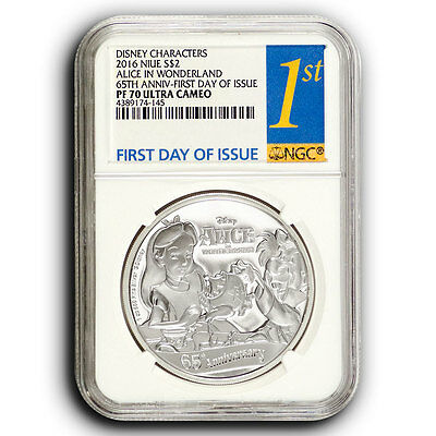 2016 Alice in Wonderland NGC PF70 First Day of Issue NIUE 1 oz Proof Silver Coin