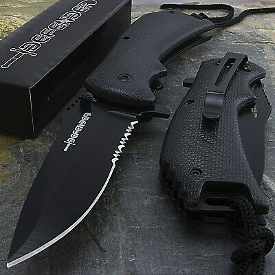 "8"" SPRING ASSISTED TACTICAL FOLDING POCKET KNIFE Blade Open Assist EDC Serrated"
