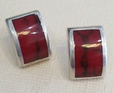 Mexican Sterling Silver Earrings Red Carnelian Stones Vintage Mexico 925