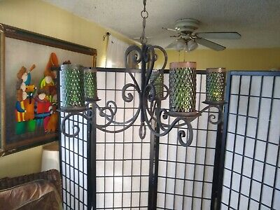 VINTAGE SPANISH HAND WROUGHT IRON 5 CANDLE LIGHT CHANDELIER   with glass