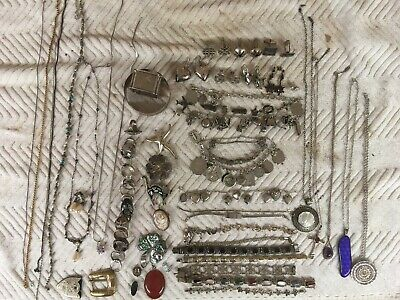 Large Lot Of Antique Vint Sterling Silver Jewelry Not Scrap Over 21 Troy Ounces