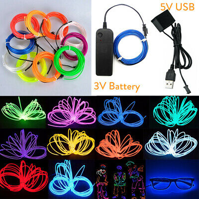 1-5M LED Neon Glow EL Wire Light String Rope Cable Car Party Decor 3/5V USB Ctrl