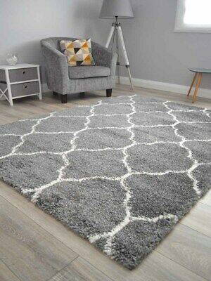 Dark Grey Cream Small Extra Large Soft Thick Trellis Shaggy Floor Mat Rugs Cheap