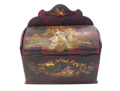 Antique 19th century papier mache desk stationary box painted decoration