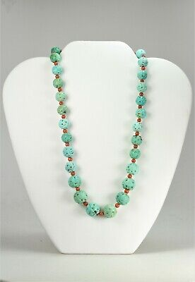 Antique Chinese Carved Turquoise Bead Sterling Silver Coral Necklace