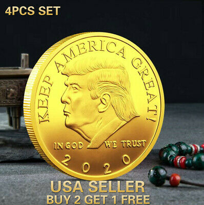 4 Pc Set 2019 President Donald Trump Gold Silver Plated EAGLE Commemorative Coin
