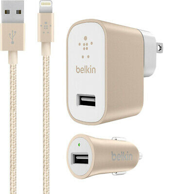 OEM Belkin 12W Mixit Up Home & Car Charger with 4Ft Lightning Cable For Apple
