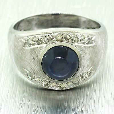 Antique Art Deco 14k Solid White Gold Star Sapphire & 0.50ctw Diamond Band Ring
