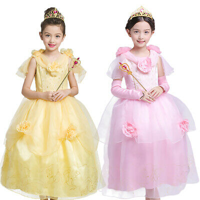 Girls Beauty and The Beast Princess Belle Dress Halloween Carnival Xmas Costume