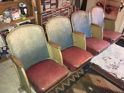Four Vintage Movie Theater Seats, from Portland's Famous 1927 Oriental Theater