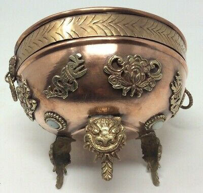 Chinese - Oriental Solid Copper & Brass Ceremonial Bowl 16 x 13 cms