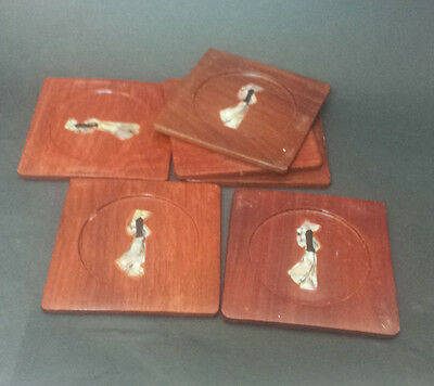 "Wood Coaster 4x4"" Japan, Set of 6"