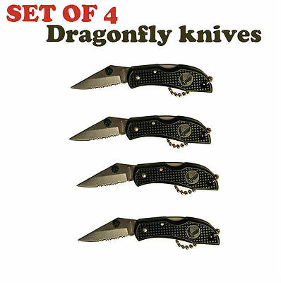 "Lot of 4 Dragonfly key-chain style 2"" serrated blade lockback folding knife"