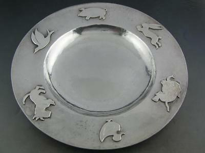 Sterling ARTS & CRAFTS Bowl / Dish hand wrought hammered finish applied Animals