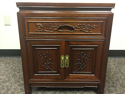 Vintage Chinese Carved Front Rosewood Nightstand