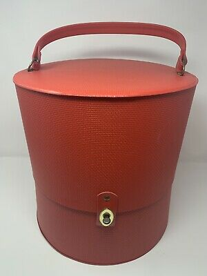 "Everbest ~ Vtg Wig Case Red Vinyl Carry Hat Head Double 13"" EUC Travel Box Round"