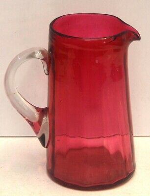 Ruby Glass Jug / Pitcher - Antique