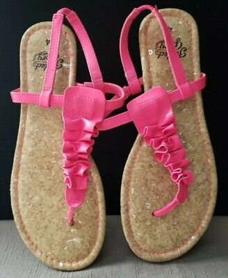 Faded Glory Missy Girls' Ruffle Toe Sandals Shoes Pink Size 4