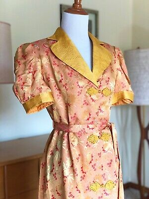 40s Chinese Silk Brocade Dressing Gown 1940's Asian Robe Dress Rare Vintage