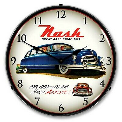 1950 Nash Airflyte LED Lighted Wall Clock ~ Made in USA ~