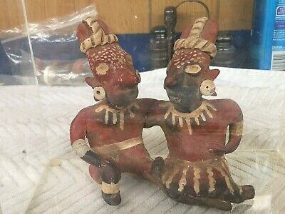 Pre Columbian Polychrome Artifacts Jalisco Sheep Face Seated  Joined Figures