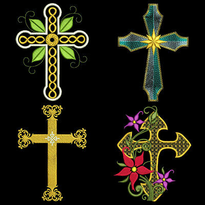 6 inch-10 Machine Embroidery Designs CD GRACEFUL CROSSES FREE SHIPPING