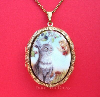 Cats Porcelain WHITE PERSIAN CAT with Blue Morning Glory Flowers Cameo Costume Jewelry Locket Pendant Necklace for Photos with 24 inch Chain