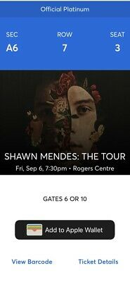 Shawn Mendes TORONTO Sec A6, Row 7, Seats 3 And 4.