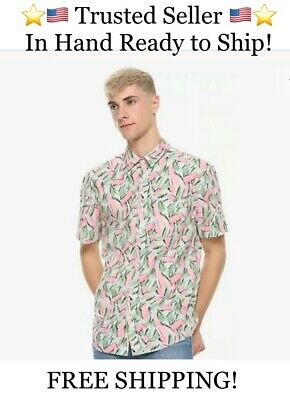 HOT TOPIC: STRANGER THINGS HOPPER HAWAIIAN SHIRT ADULT Large L - SOLD OUT