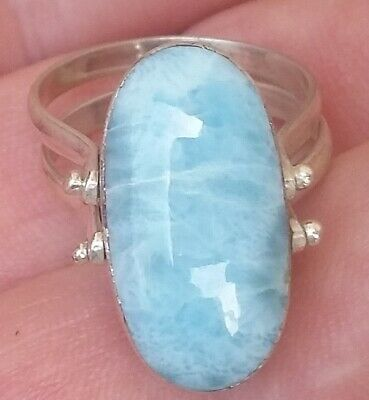 TWO SIDE LARIMAR AMBER stones 925 sterling silver RING size 7  tw-5
