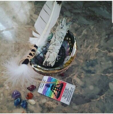 Abalone Shell Tripod blessed feather White Sage Smudge Kit stick for Smudging