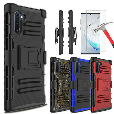 For Samsung Galaxy Note 10+ Plus Case With Kickstand Belt Clip+Screen Protector