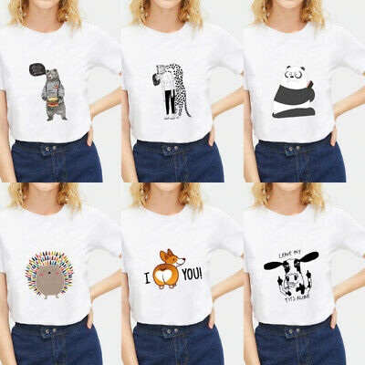 Funny Cute Animal Printed Female Tee Short Sleeve Streetwear Casual White Tops