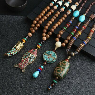 Ethnic Style Vintage Wooden Beads Pendant Necklace Tibetan Long Sweater Chain