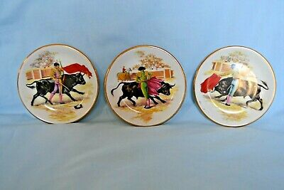3 x  China  Pin Dishes. Bull Fighters Wood & Sons  Made in England